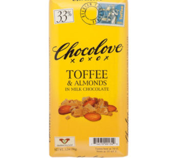 Chocolove, Toffee & Almonds Milk Chocolate 33% 3.2oz