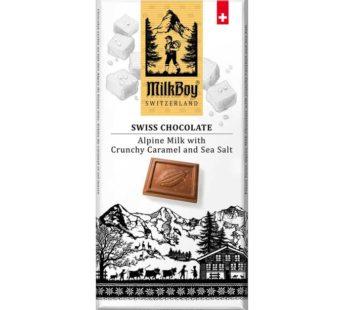 Milkboy, Swiss Alpine Milk Chocolate with Crunchy Caramel & Sea Salt 3.5oz