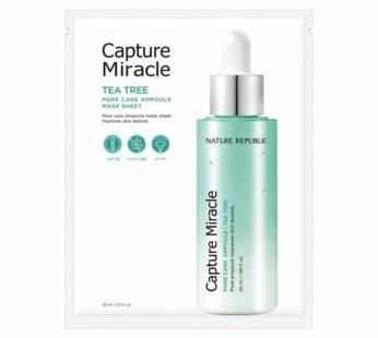 Nature Republic, Capture Miracle TEA TREE Pore Care Ampoules Mask Sheet Improves Skin Texture 1.01 fl oz