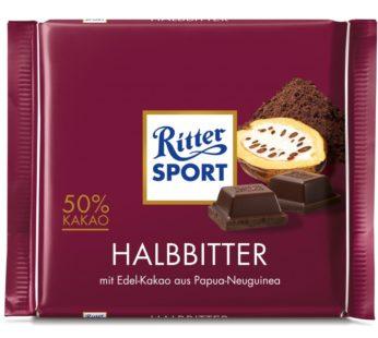 RITTER SPORT, HALBBITTER 50 % COCOA 3.5oz