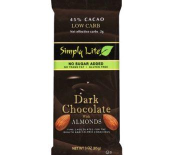 Simply Lite, Low Carb & No Sugar Chocolate Dark Almond 3oz