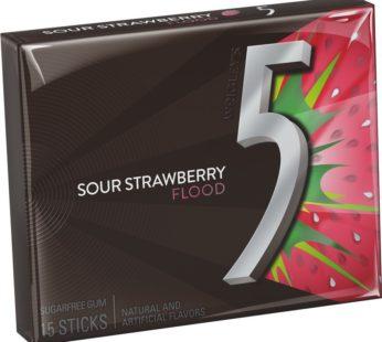 Wrigley Five 15 Stick Sugar Free Sour Strawberry Flood 1.43oz